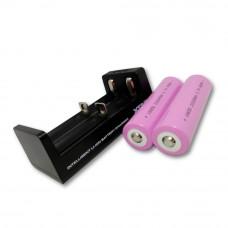 Oplader og 2 genopladelige lithium batterier – Bolyguard
