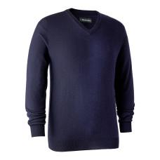 Kingston Striktrøje med V-hals - Dark Blue