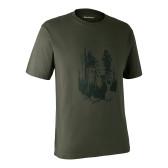 T-shirt med Skjold - Bark Green