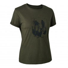 Lady T-shirt med Deerhunter skjold - Bark Green