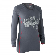 Lady Hazel T-shirt med lange ærmer - Iron melange