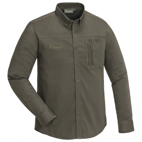 Tiveden TC-stretch insect-stop Skjorte - Dark Olive/Suede Brown