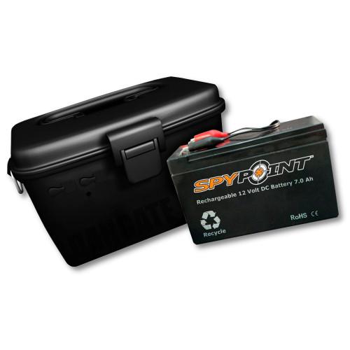 Spypoint 12 volt batteri med oplader og vandtæt boks Vildtkamera tilbehør