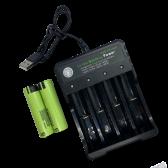 USB  oplader og 2 stk. 18650 batterier