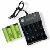 USB  oplader og 4 stk. 18650 batterier