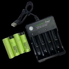 Ekstern USB  oplader og 4 stk. 18650 batterier