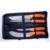 Slagtersæt orange håndtag 3 knive og 1 s..