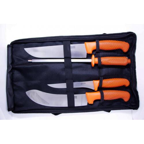 Slagtersæt orange håndtag 3 knive og 1 slibeværktøj