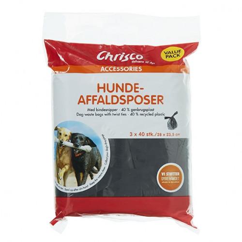 Chrisco Hundeaffaldsposer, 3 x 40 stk. med bindesnipper Jagthunden