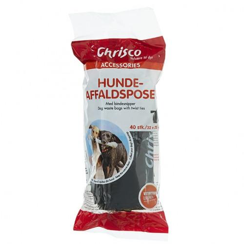 Chrisco Hundeaffaldsposer, 40 stk. med bindesnipper Jagthunden